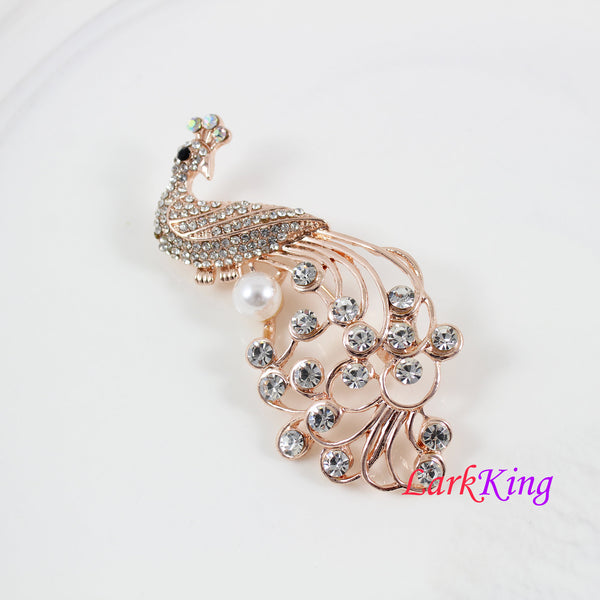 Peacock brooch, pearl peacock brooch, crystal peacock brooch, rhinestone peacock brooch, women gift, birthday gift, Lark king  BH93