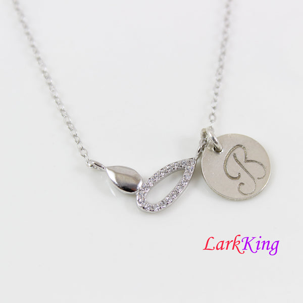Sterling silver sprout necklace, dainty silver necklace, silver necklace for girl, personalized necklace, necklace gift for birthday, LK8499