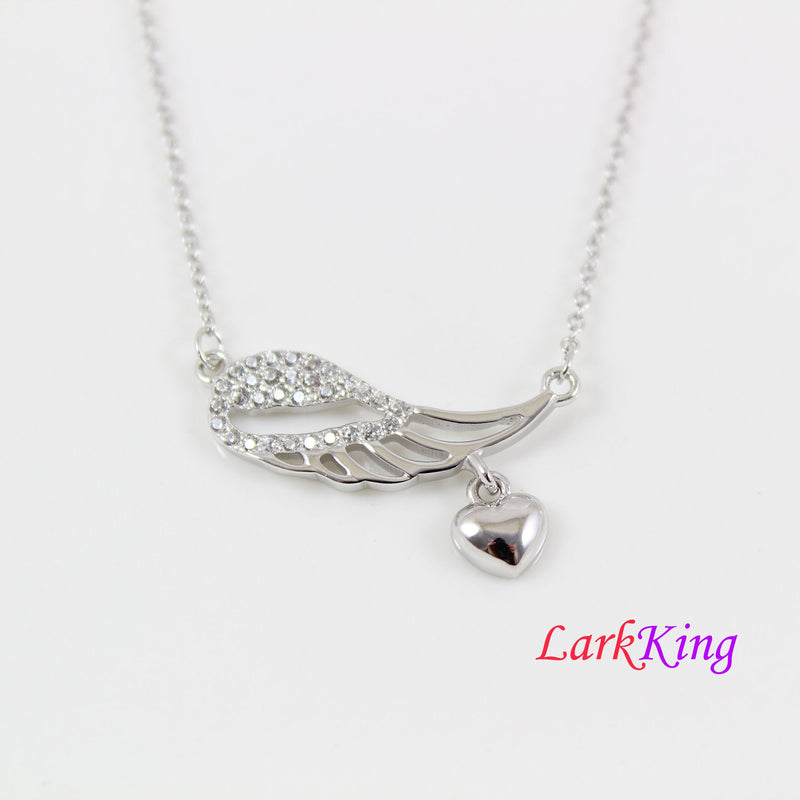 Sterling silver wing necklace, angel wing with heart necklace, dainty silver wing necklace for girl, wing necklace for women, LK8500