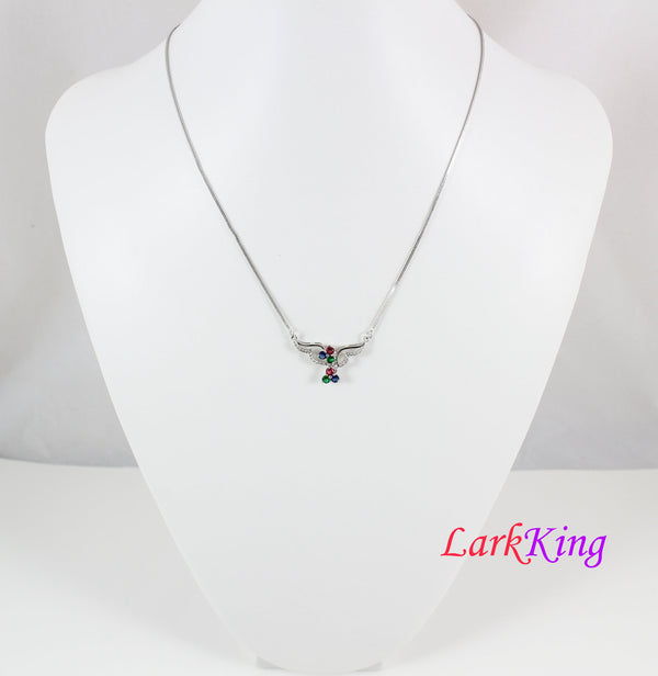 Sterling silver swarovski blue red and green crystals necklace, wings necklace, bird necklace, bridal necklace, wedding gift, LK11059