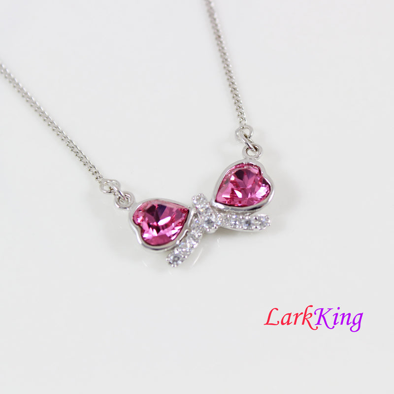 Sterling silver pink swarovski crystals necklace, silver bow necklace, necklace for women, necklace for girl, anniversary gift, LK11062