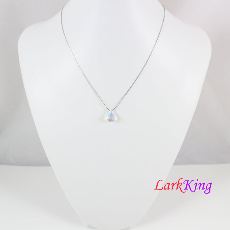 Swarovski crystal necklace, dainty silver necklace, clear teardrop swarovlki pendant, swarovski necklace for girl, necklace women, LK11063