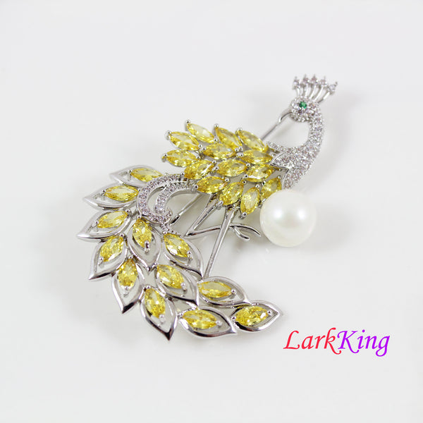Peacock brooch, yellow crystal peacock brooch, CZ & pearl peacock brooch, women gift,  wedding brooch, bridal brooch, anniversary gift, BH89
