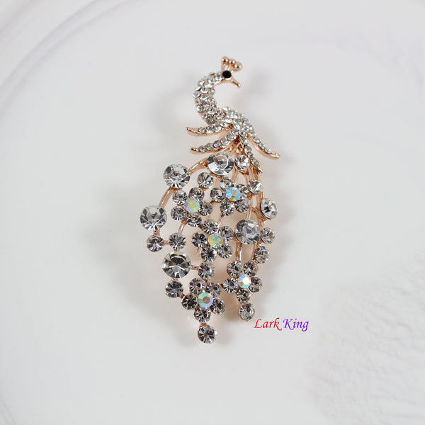Peacock brooch, rhinestone crystal peacock brooch, unique brooch, wedding gift, bridesmaid gift, anniversary gift, birthday gift, BH97