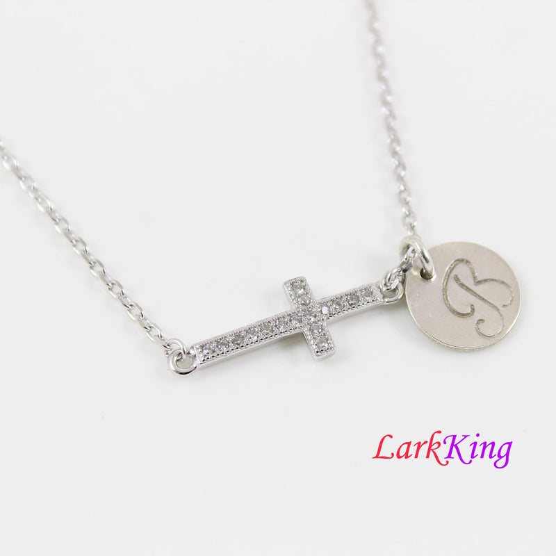 Sterling silver cross necklace, silver cross, side cross necklace, personalized cross necklace, religious necklace, catholic gift, LK8498