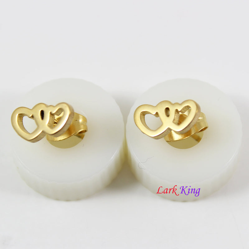 Couple hearts stud earrings, gold heart studs, couple heart studs gold, heart studs for women, studs for men, stainless steel studs, LK3559