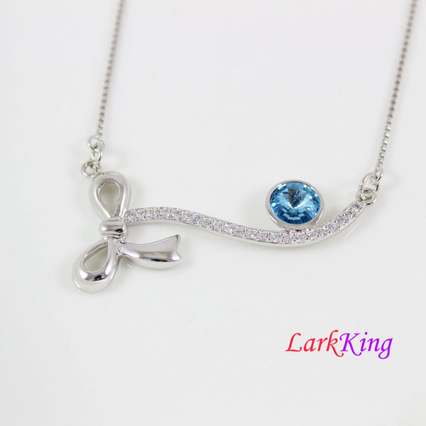 Blue swarovski necklace, sterling silver ribbon necklace, swarovski necklace for women, swarovski silver jewelry, anniversary gift, LK11073