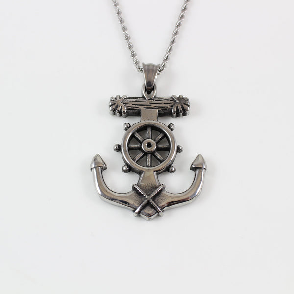 Stainless steel ship steering wheel anchor necklace, sailor necklace, large wheel anchor pendant, nautical necklace, graduation gift, LK7138