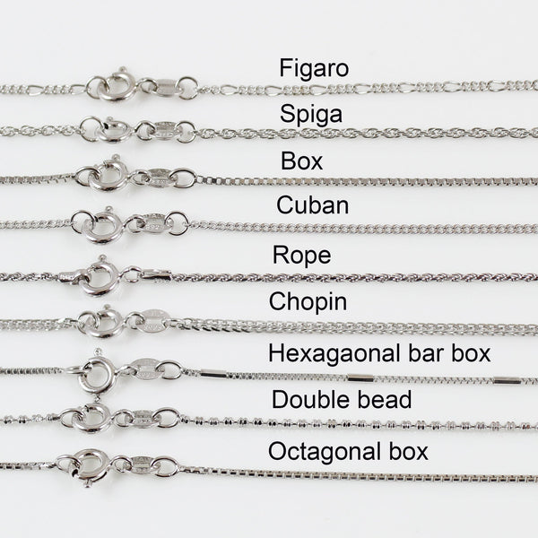 Sterling silver necklace chain, chain necklace, silver necklace for women, silver chain for men, Rope, Figaro, Box chain, Spiga, Cuban chain