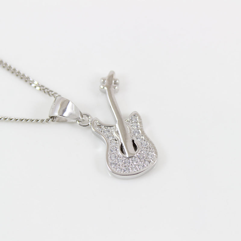 Sterling silver Guitar necklace, silver music necklace, electric guitar necklace, bass guitar pendant, silver rock music jewelry, LK13028