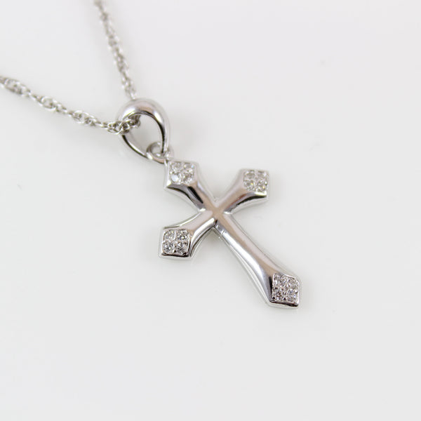 Sterling silver cross necklace, small cross necklace, silver cross charm, cross necklace women, christian cross, first communion gift,NE8325