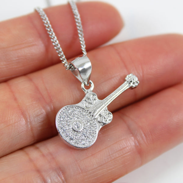Sterling silver Guitar necklace, silver music necklace, banjo necklace, musician necklace, silver guitar charm, rock music jewelry, LK13029