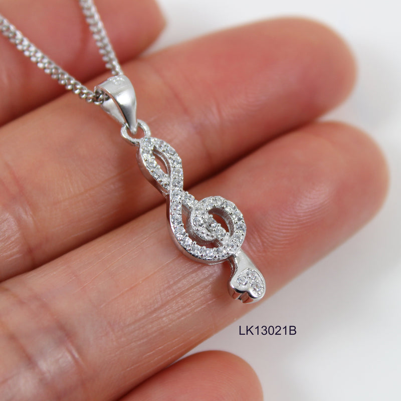 Sterling silver music necklace, silver treble clef charm necklace, music note necklace, treble clef pendant, gift for musician, LK13021