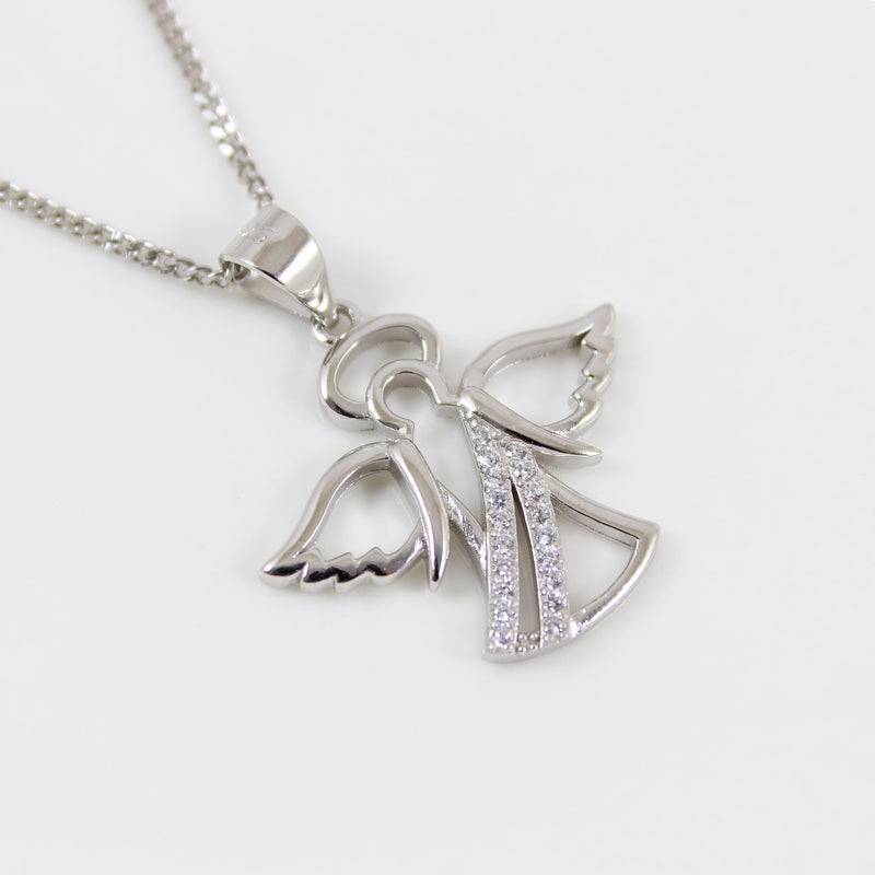 Sterling silver angel necklace, angel wings necklace, angel star charm, silver angel pendant, angel necklace for women, angel gift,  LK13010