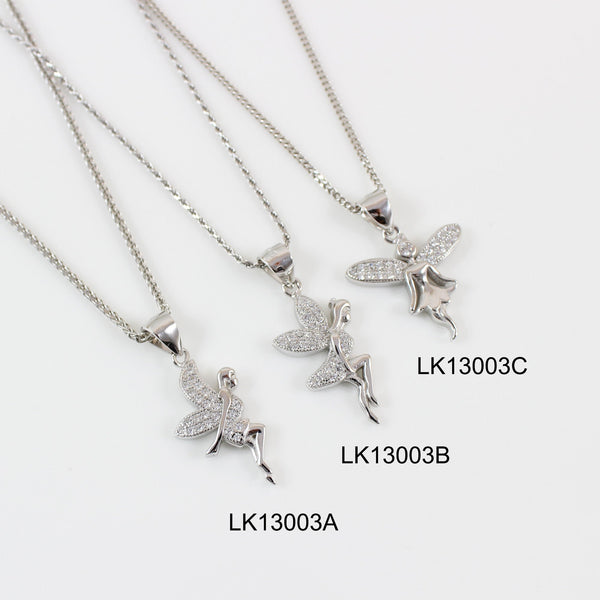 Sterling silver fairy necklace, thick silver fairy pendant, silver CZ fairy charm, fairy necklace for girls, fairy necklace women, LK13003