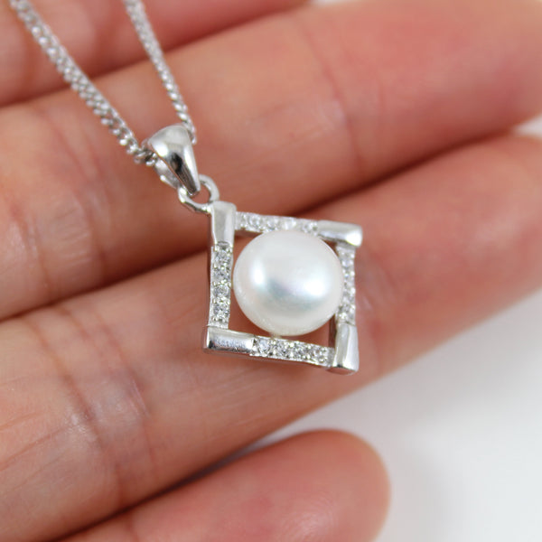 Sterling silver pearl necklace, silver diamond shape necklace, pearl & CZ pendant, silver pearl jewelry, pearl necklace for women, LK10028