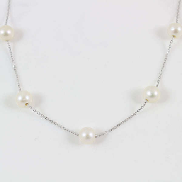 Sterling silver pearl necklace , dainty pearl necklace, 5 PCs freshwater pearl necklace, bridesmaid necklace, necklace for women, LK10036
