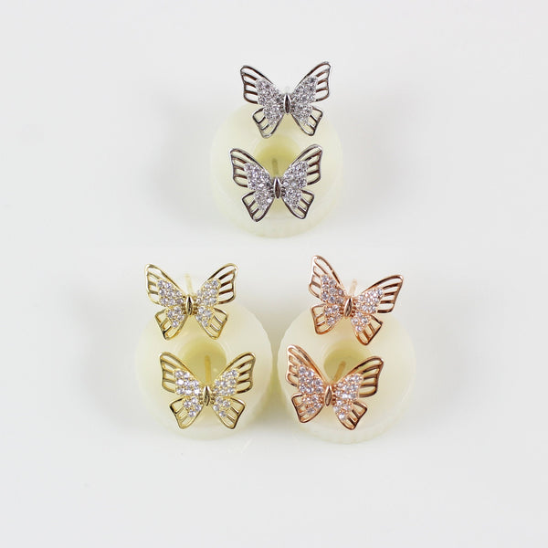 14K gold filled sterling silver butterfly stud earrings, butterfly earrings silver, butterfly earrings rose gold, butterfly studs, LK15053