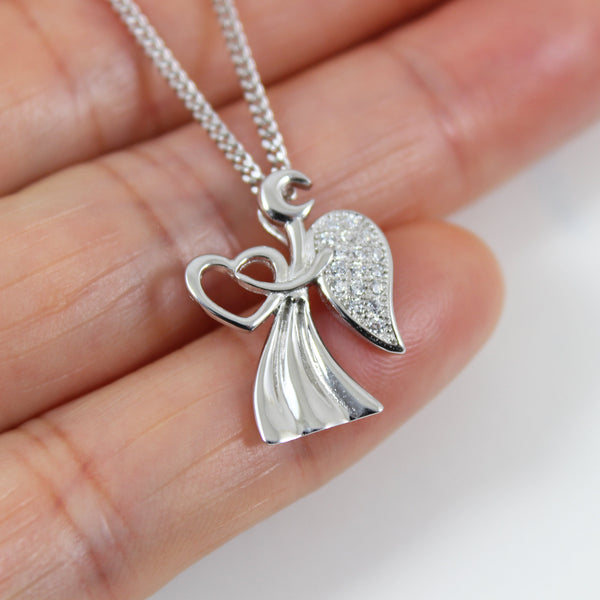 Sterling silver angel necklace, angel wing necklace, angel heart charm, silver angel pendant, angel necklace women, angel for gift,  LK13018