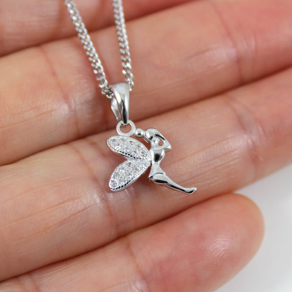 Sterling silver fairy necklace, tiny silver fairy pendant, small silver fairy charm, silver fairy necklace for girls, fairy gift, LK13017