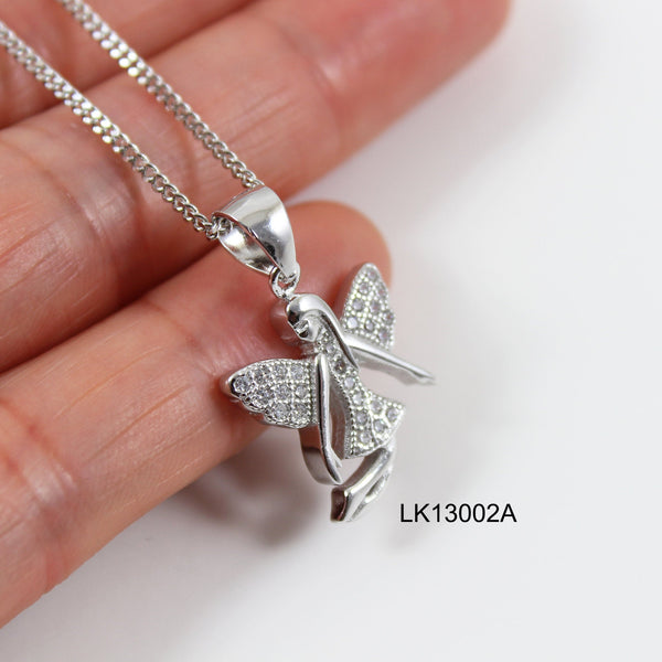 Sterling silver fairy necklace, thick silver fairy pendant, silver fairy on moon , fairy necklace for girls, fairy necklace women, LK13002