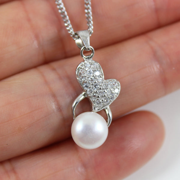Sterling silver pearl necklace, pearl heart necklace, heart pearl pendant, silver pearl jewelry, birthday gift, anniversary gift, LK10019