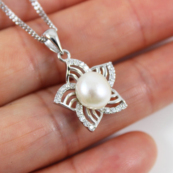 Sterling silver pearl necklace, flower pearl necklace, flower pearl pendant, silver pearl jewelry, birthday gift, anniversary gift, LK10020