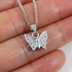 Sterling silver butterfly necklace, silver insect jewelry, silver butterfly pendant, nature necklace, butterfly necklace for girls, LK13046