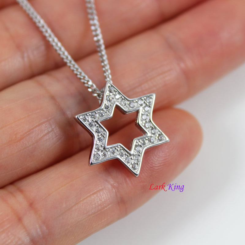 Sterling silver six star necklace, silver Star of David pendant, Star of David jewelry, silver six star charm necklace, star gift, LK13064
