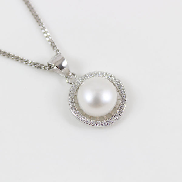 Sterling silver pearl necklace, silver circle necklace, circle pearl & CZ pendant, silver pearl jewelry, pearl necklace for women, LK10023