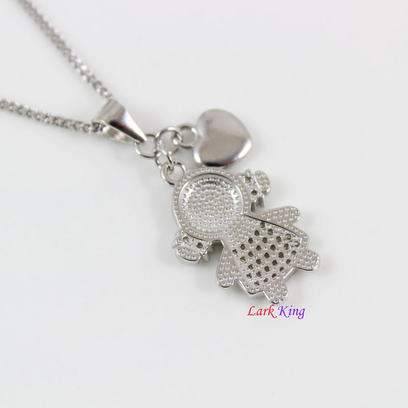 Sterling silver little girl charm necklace, silver girl and heart charm pendant, silver necklace for girls, silver girl jewelry, LK13065