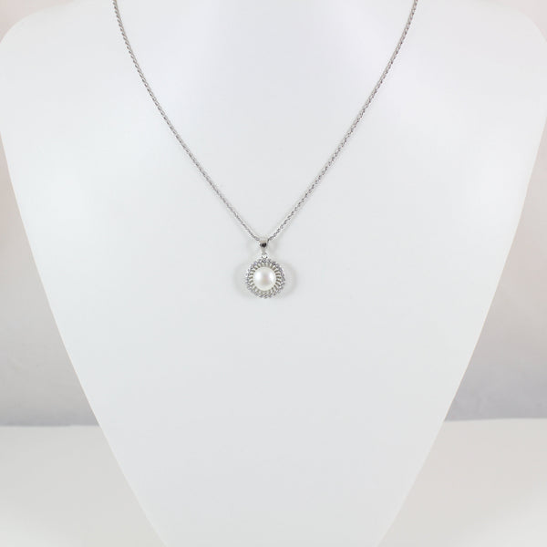 Sterling silver pearl necklace, silver circle necklace, circle pearl & CZ pendant, silver pearl jewelry, pearl necklace gift, LK10029