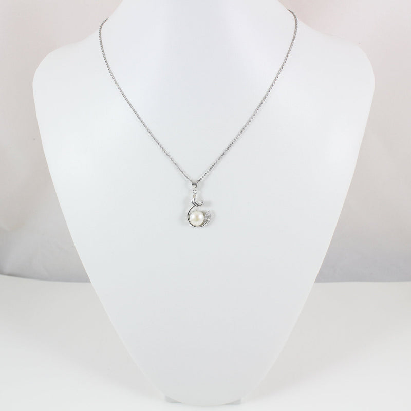 Sterling silver pearl necklace, silver vine necklace, silver pearl vine pendant, silver pearl jewelry, silver pearl necklace women, LK10033