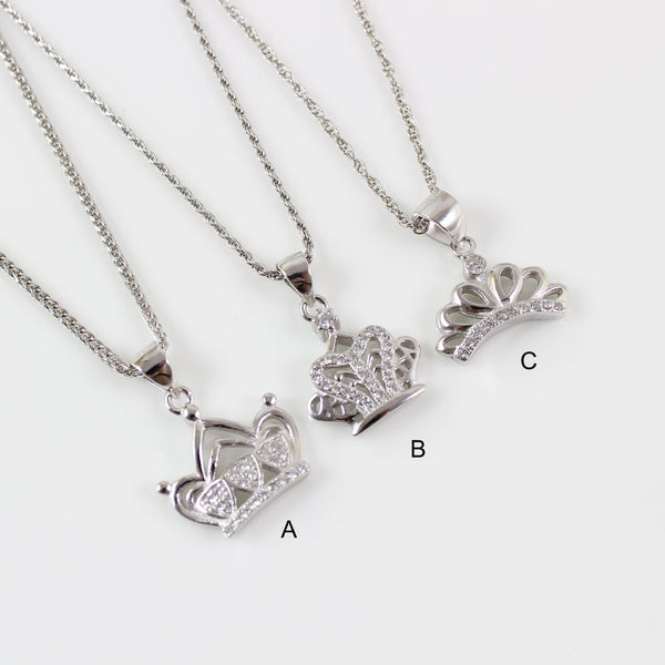Sterling silver crown necklace, princess necklace, silver CZ crown pendant, princess crown charm necklace, crown necklace for girls, LK13066