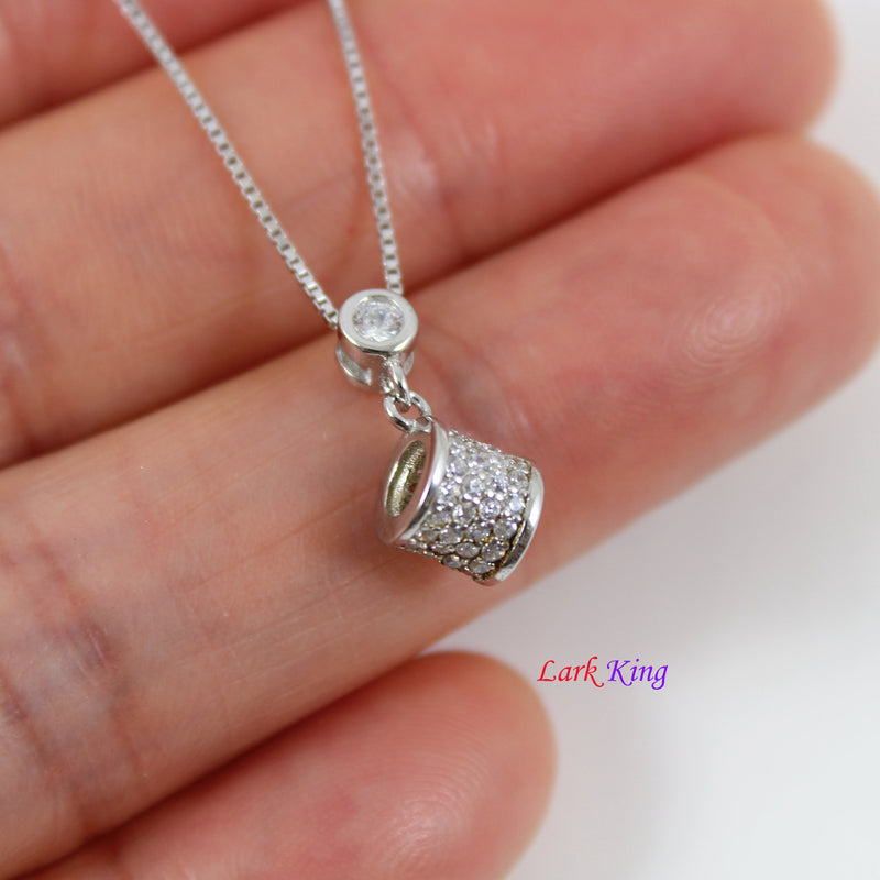 Sterling silver drum necklace, small silver CZ drum charm necklace, silver CZ drum pendant, dainty silver drum necklace, LK10083