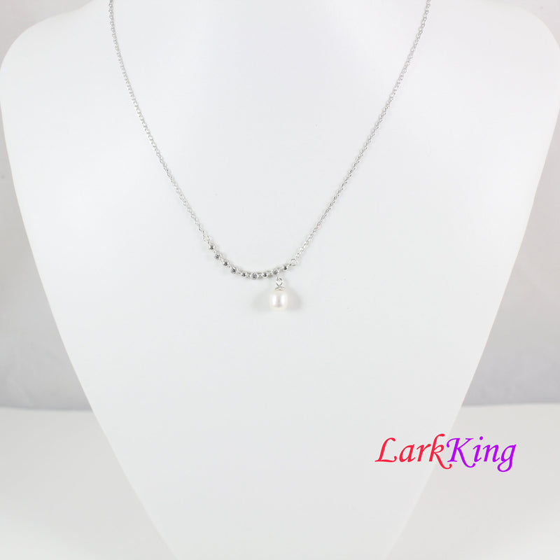 Sterling silver pearl necklace, silver CZ necklace, pearl silver jewelry, silver swing pendant, bridal necklace, necklace for women, LK10052