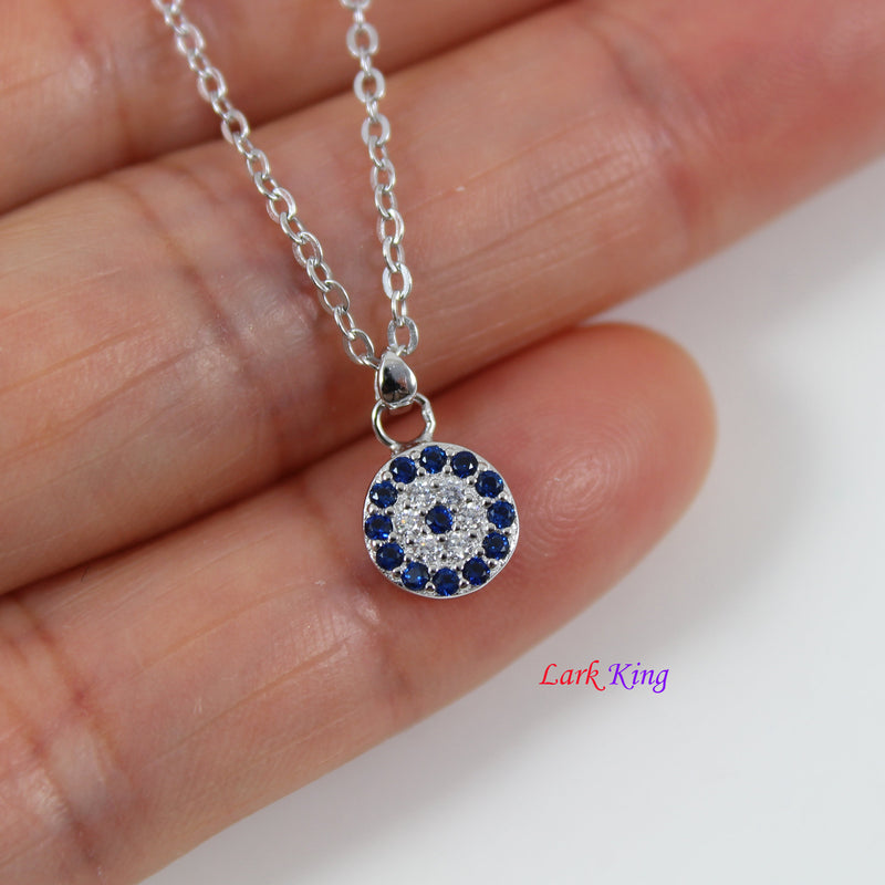 Sterling silver clock necklace, dainty CZ analogue clock charm necklace, tiny silver CZ circle pendant, silver necklace for women, LK10078