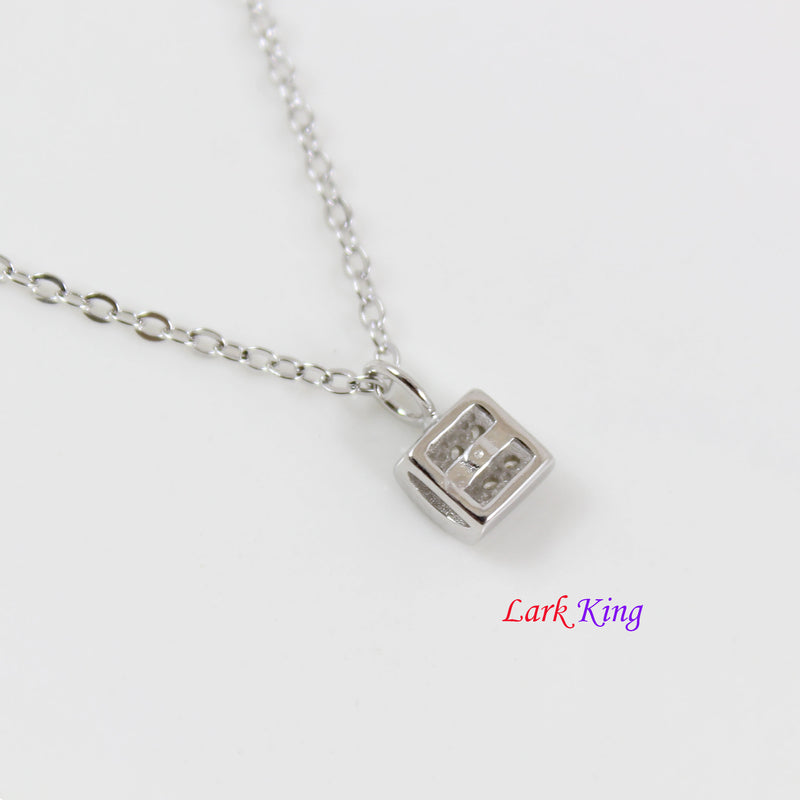 Sterling silver lock necklace, tiny silver CZ lock charm necklace, silver CZ lock pendant, dainty silver lock necklace, silver lock, LK10079