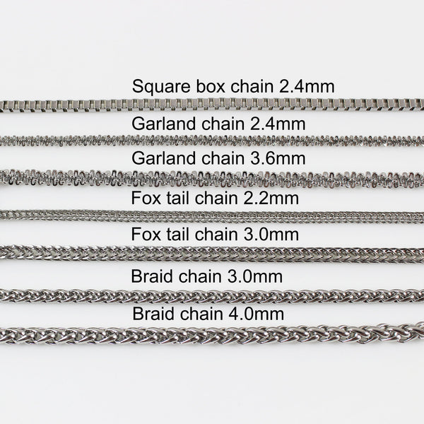 Stainless steel necklace, chain necklace, necklace chain for men, chain necklace for women, chunky necklace, fox tail , box , braid chain