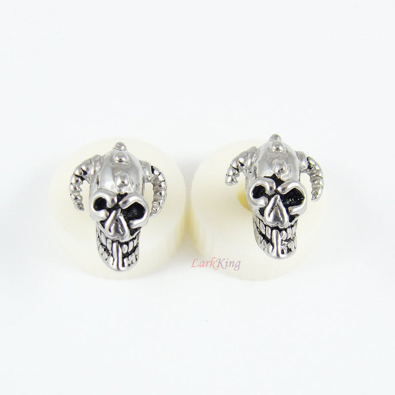 Stud earrings, skull stud earrings, statement stud earring, statement studs, ear studs, unique stud earrings, unique studs, LarkKing ER363