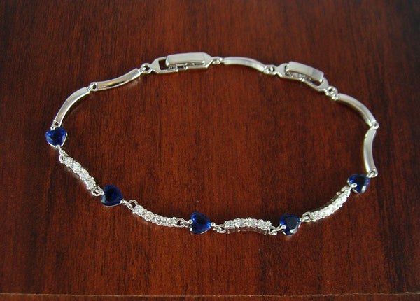 Heart bracelet, crystal necklace, blue heart bracelet, blue bracelet, jewelry bracelet, unique wedding gift, bridesmaid gifts, BR32