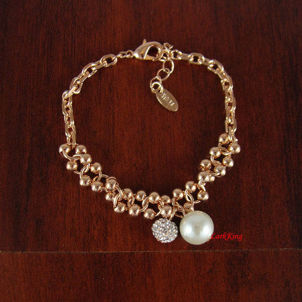 Gold filled stainless steel pearl bracelet, bridal bracelet, gifts, bridesmaid gift, gift for woman, trendy bracelets, BR02