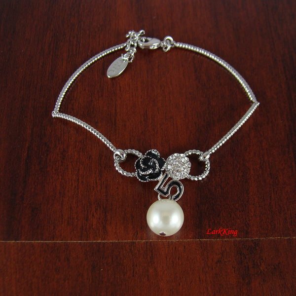 White gold filled stainless steel pearl bracelet, black rose bracelet, adjustable bracelet, teenage gift, bridesmaid bracelet, LarkKing BR03