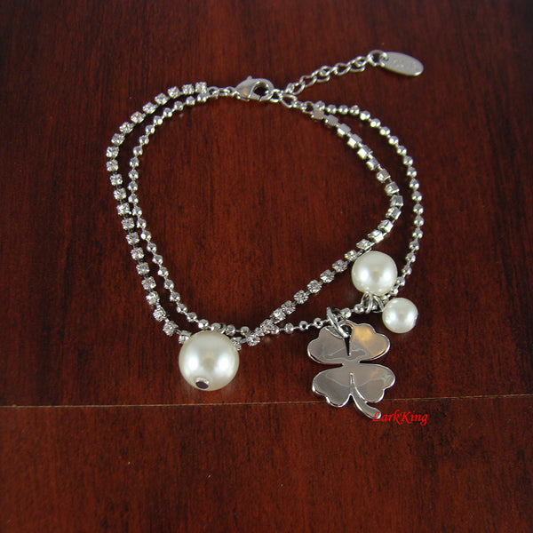 White gold filled stainless steel pearl bracelet, crystal bracelet, flower bracelet, charm bracelet, friendship bracelet, LarkKing  BR06