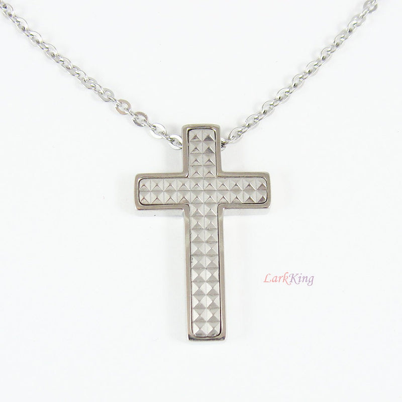 Cross, stainless steel cross necklace, cross gift, baptism gift, first communion gift, christening gift, silver color cross, unique, NE522