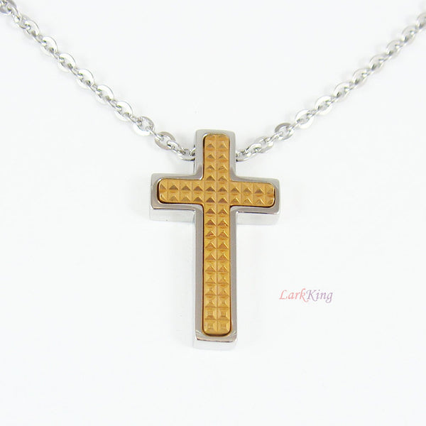Cross necklace, stainless steel cross, communion gift, confirmation gift, gold color cross, small cross, tiny cross, christening gift, NE524