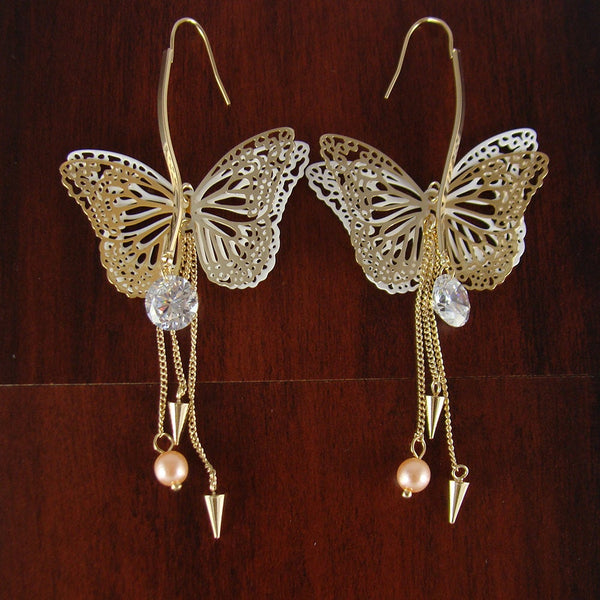 Dangle butterfly earrings, unique gift for her, statement earrings, dangle earrings, everyday earrings, gifts for teenagers, LarkKing ER1036