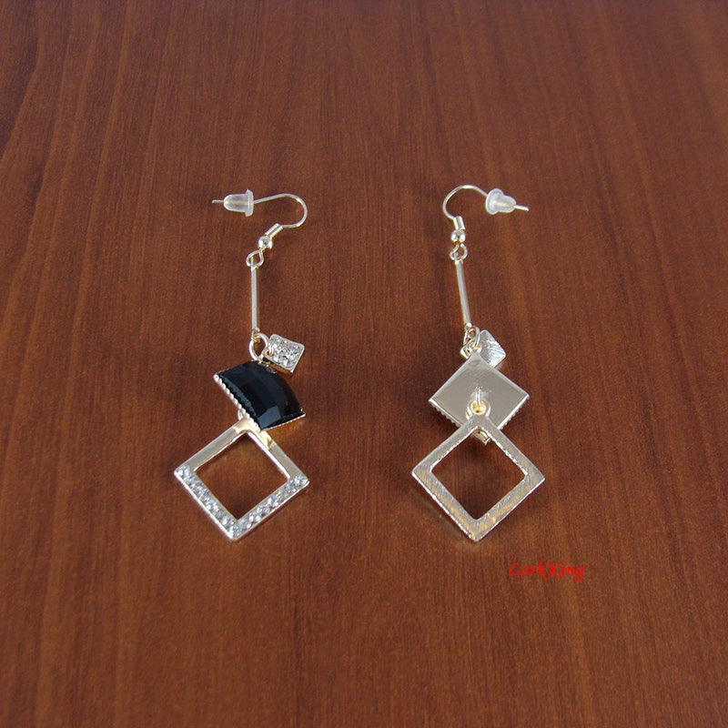 Dangle earrings, black earrings, dangle square earrings, dangling earrings, unique gifts for her, girl gifts, women gifts, LarkKing ER1080