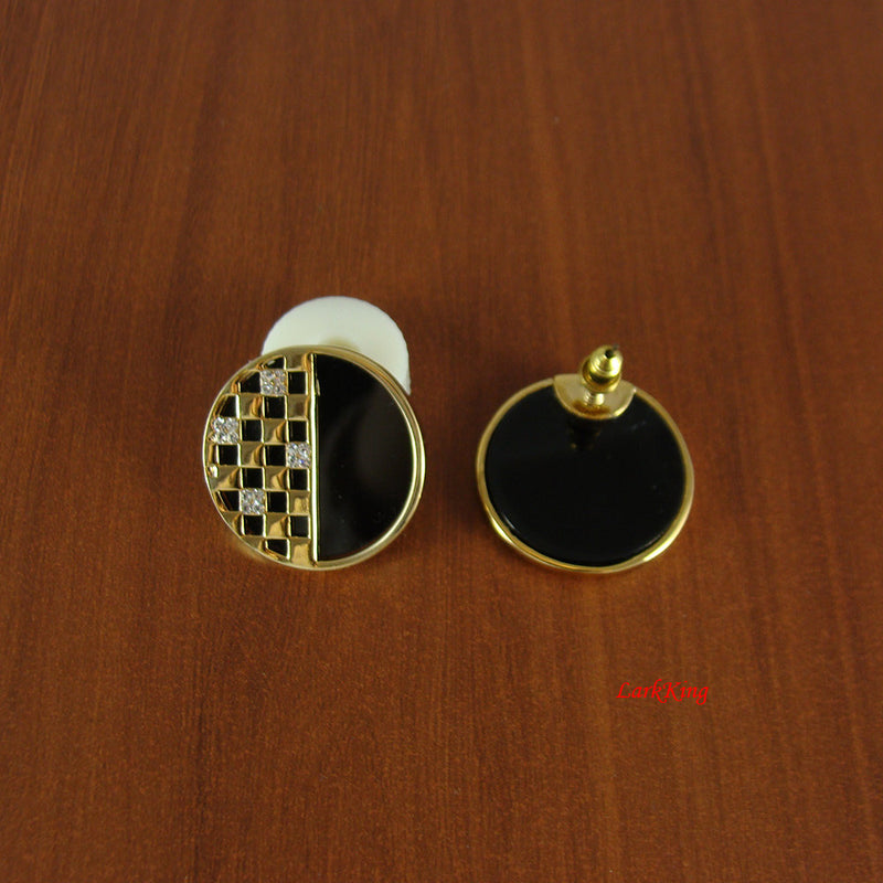 Black earrings, checker earrings, circle earrings, unique gifts for women, girls earrings, unique earring, simple earrings, LarkKing ER1126