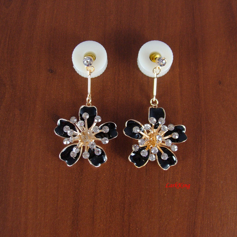 Black flower earrings, black earrings, flower earrings, crystal earrings, dangle earrings, unique earrings, unique gifts, LarkKing ER1139